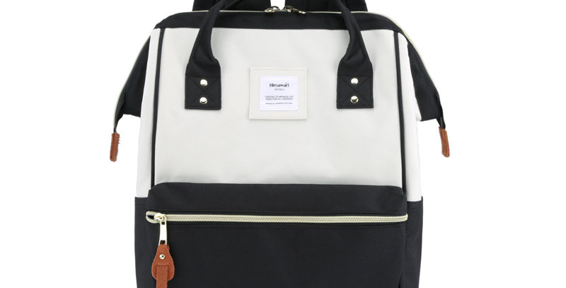 "Himawari Holly Daze 15"" Laptop Backpack(9001)-Black / White"