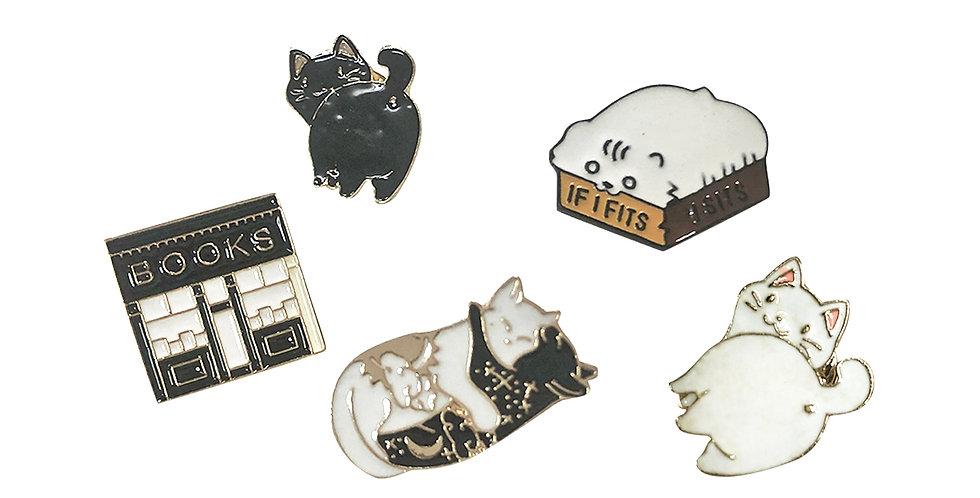 """Bag Brooch Set """"Catlovers"""""""
