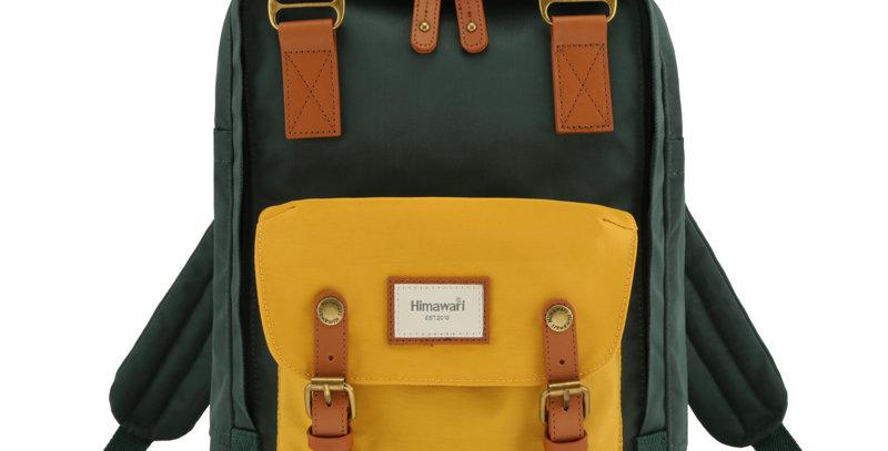 "Himawari Buttercup 14"" Laptop Backpack(HM188L-56)-Yellow/Hunter Green"