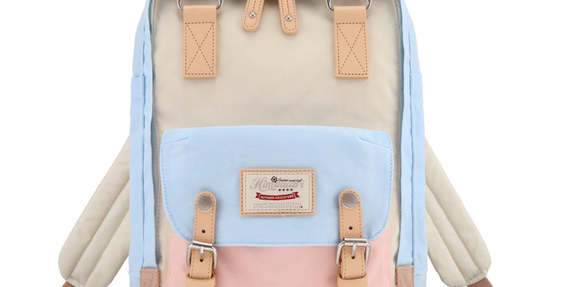 "Himawari Buttercup 14"" Laptop Backpack(HM188L-38)-Pastel Pink/Blue Cream"