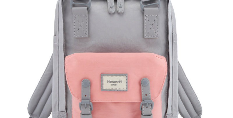 """Himawari Buttercup 14"""" Laptop Backpack(HM188L-61)-Cute Pink/Gray"""