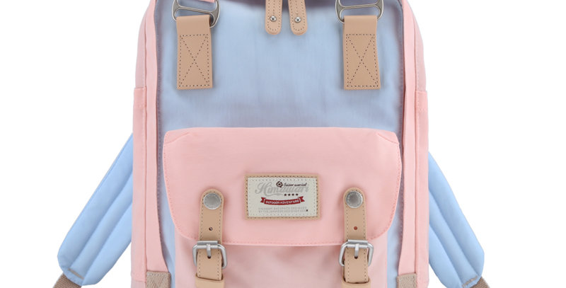 "Himawari Buttercup 14"" Laptop Backpack(HM188L-42)-Pastel Pink/Light Blue"