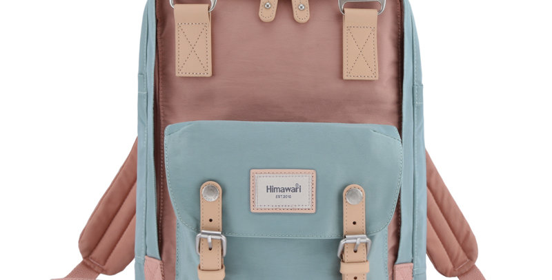 "Himawari Buttercup 14"" Laptop Backpack(HM188L-01)-Mint/Cute Pink"