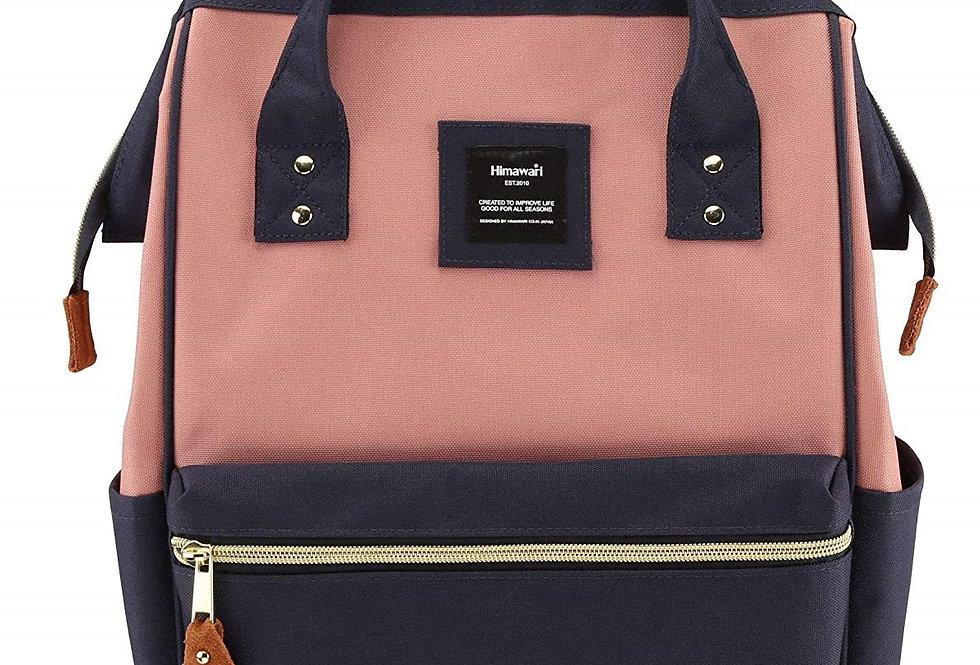 "Himawari Holly Daze 15"" Laptop Backpack(9001)-Navy/Cute Pink"