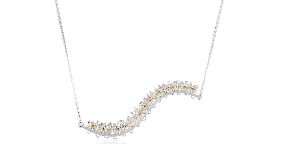 Silver and Gold Draped Necklace on a Silver Chain