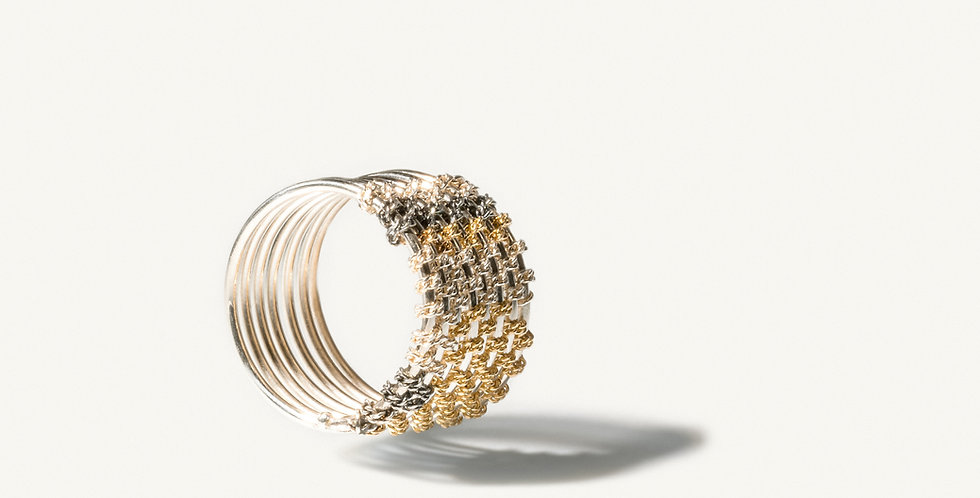 Handmade tapestry gold and silver woven ring
