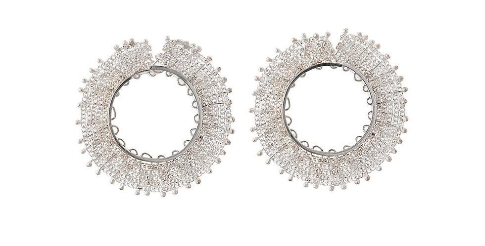 Pair of Sterling Silver Woven Hoop Stud Earrings