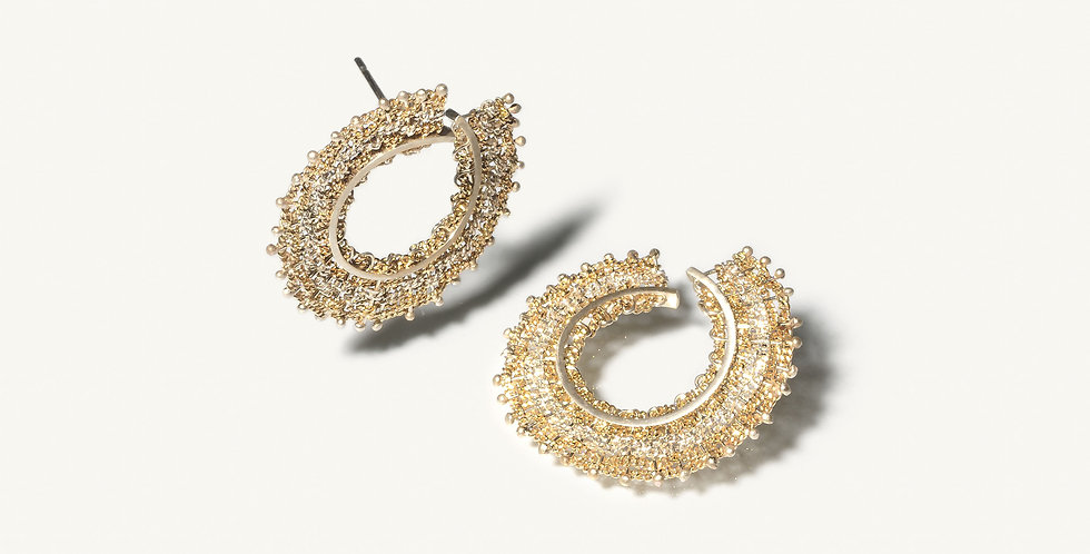 Pair of gold woven hoop stud earrings
