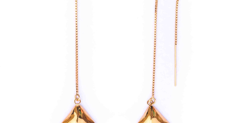 Gold Bell Threaded Earrings