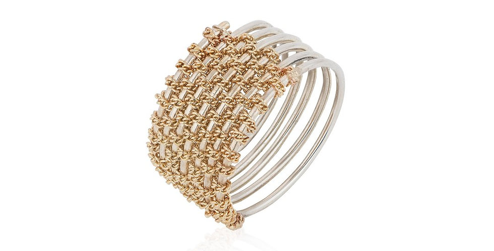Handmade 9ct Gold and Silver Woven Statement Ring