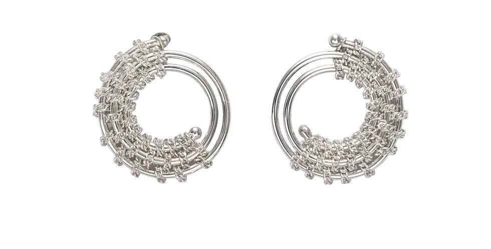 Sterling Silver Circular Twisted Stud Earrings