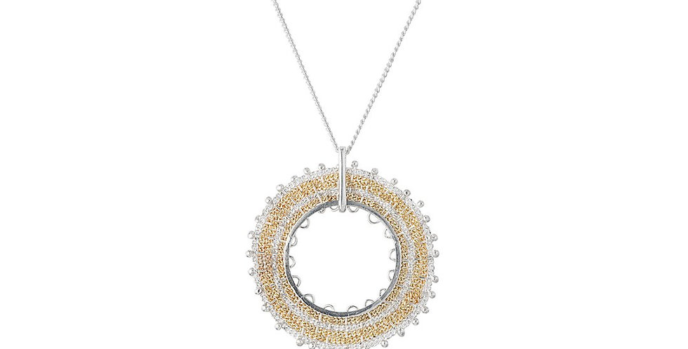 Silver and Gold Woven Circular Pendant Necklace