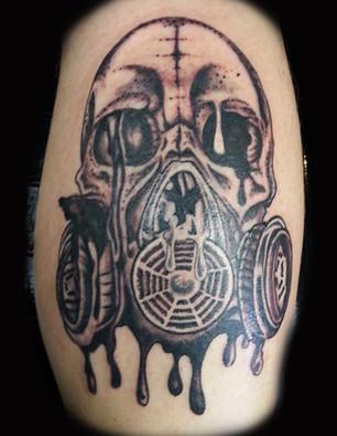 Gallo_skull biohazard tattoo