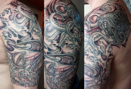 Gallo_half sleeve tattoo