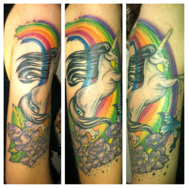 gallo_album_unicorn and rainbow tattoo