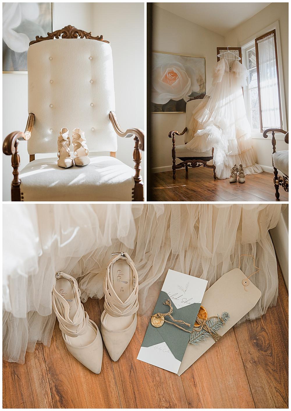Wedding shoes, Getting Ready Shots, Hanging Dress