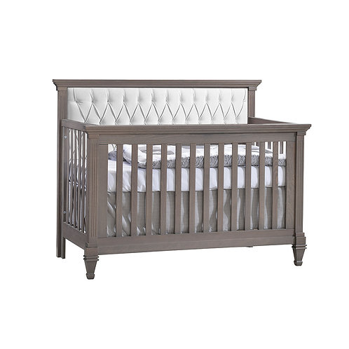 "Belmont ""5-in-1"" Convertible Crib with Diamond Tufted Upholstered Panel"