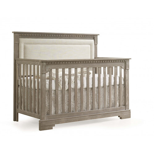 "Ithaca ""5-in-1"" Convertible Crib with Blind-Tufted Linen Weave Upholstered Headb"
