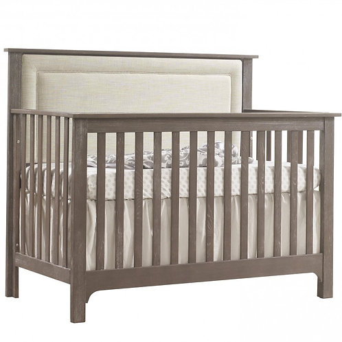 NEST EMERSON 5-IN-1 CONVERTIBLE CRIB WITH UPHOLSTERED PANEL FOG IN MINK