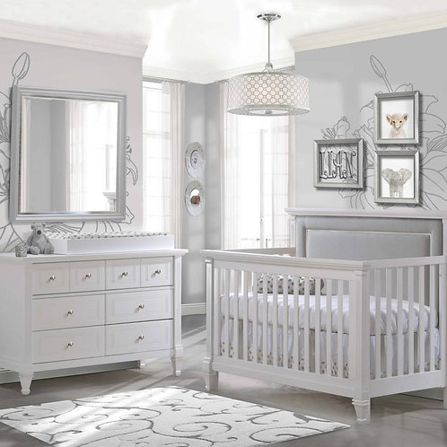 Natart Belmont Crib In White With Tufted Panel In Linen Gray