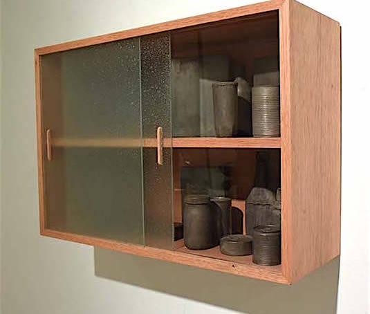 Timeless state of food II, 2014 Wood pantry with 15 bronze and brass reproductions of food containers.  21.65 x 31.49 x 10.82 inches. 55 x 80 x 27.5 cm.
