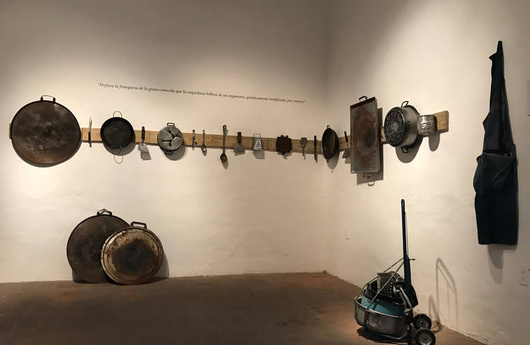 Timeline, 2014  Project involving exchange of new kitchen utensils for old ones, installation and video-documentation.  27.16 x 6.69 cm. and 31.49 x 1.14 x 6.69 inches. 69 x 2.75 x 17 cm. and 80 x 2.90 x 17 cm.