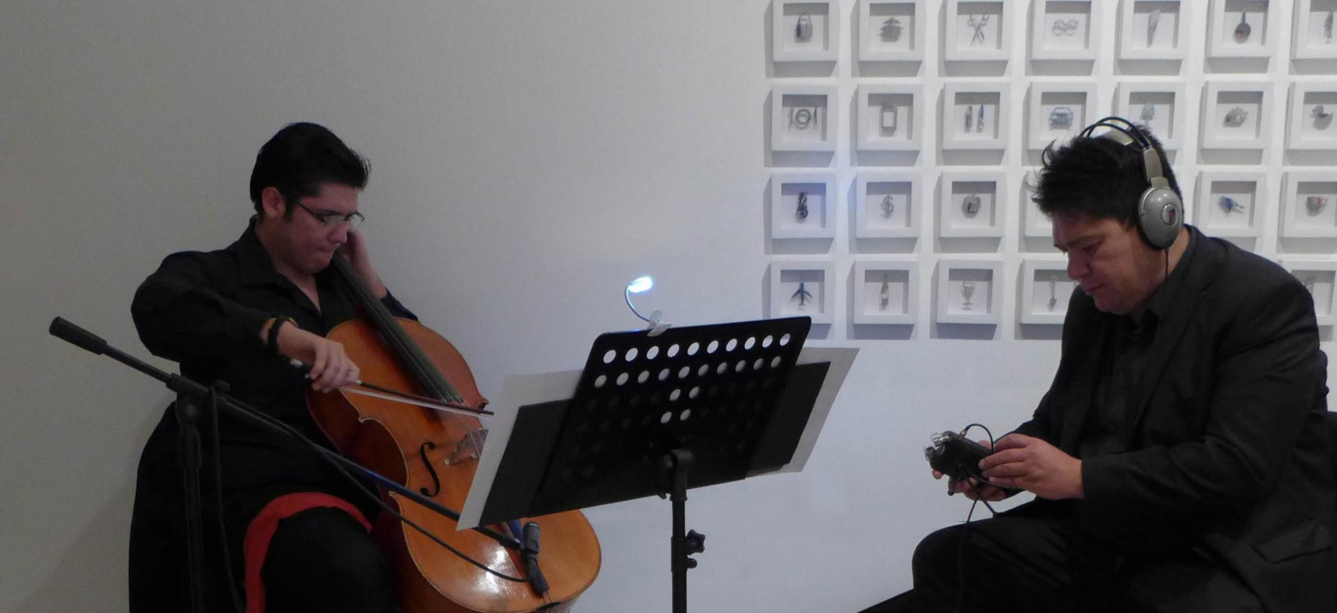 Fate, 2017. Multidisciplinary performance. Violonchelist Miguel Angel Villeda Cerón and composer Venus Rey, Jr.