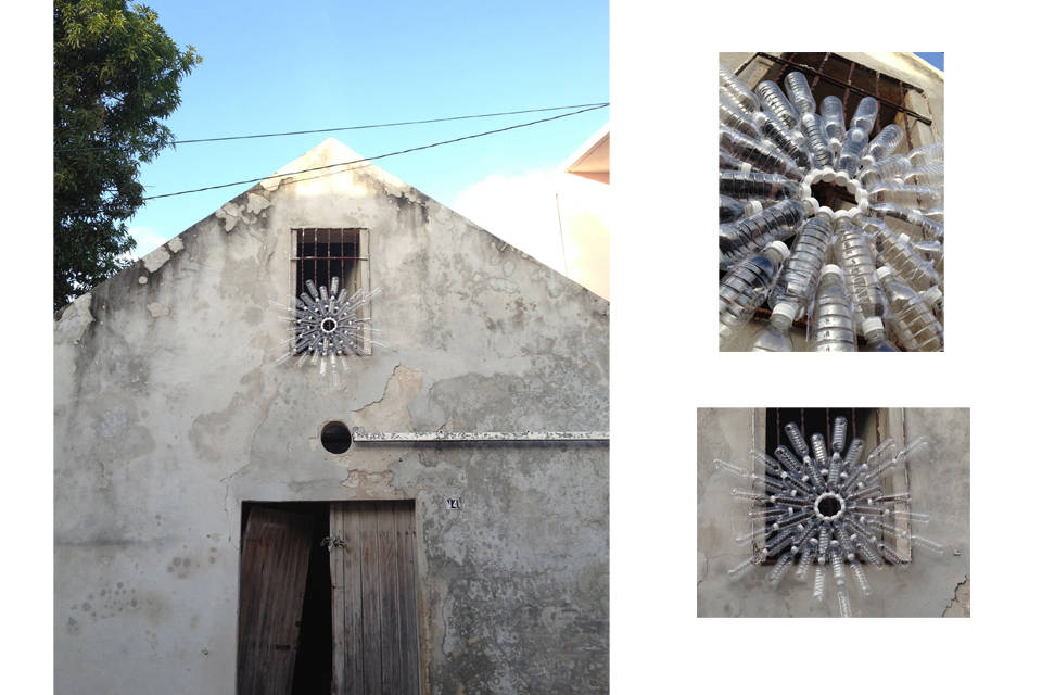 New North, 2013 Intervention in Cd. de l Carmen, Mexico. Assembled PET bottles. 42.24 Ø x 2.75 inches. 120 Ø x 7 cm.