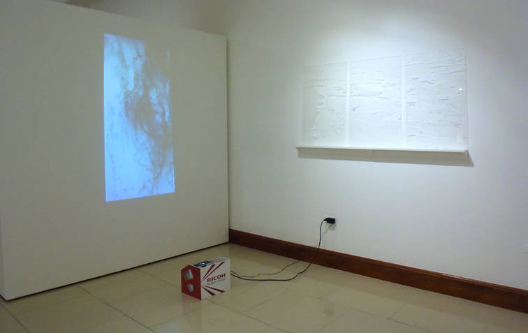 """Overview Video. X ray of power, 2013  5'44"""".   Displacement, 2013 Engraving over acrylic and shadows. 31.49 x 19.68 x 4.72 inches each. 80 x 50 x 12 cm. each."""