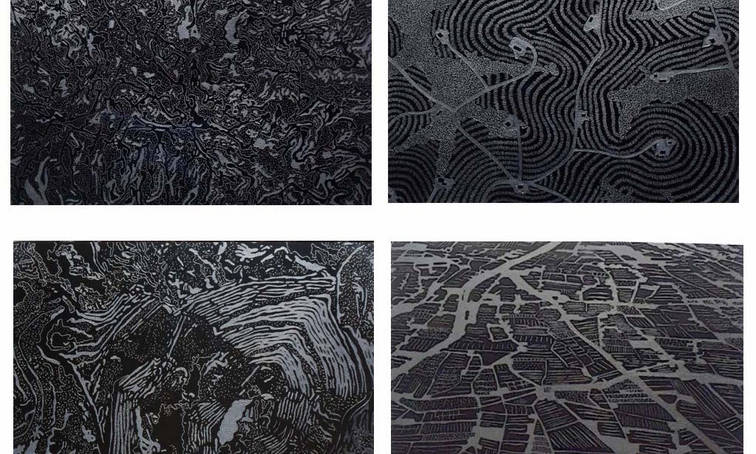 Earth tatoos, 2015 Engraving over acrylic and graphite. Overview of an oil field, a gas field, silver mine and industrial agriculture field.  19.68 x 19.68 x 1.18 inches each. 50 x 50 x 3 cm. each. City Museum of Queretaro Collection. Mexico.