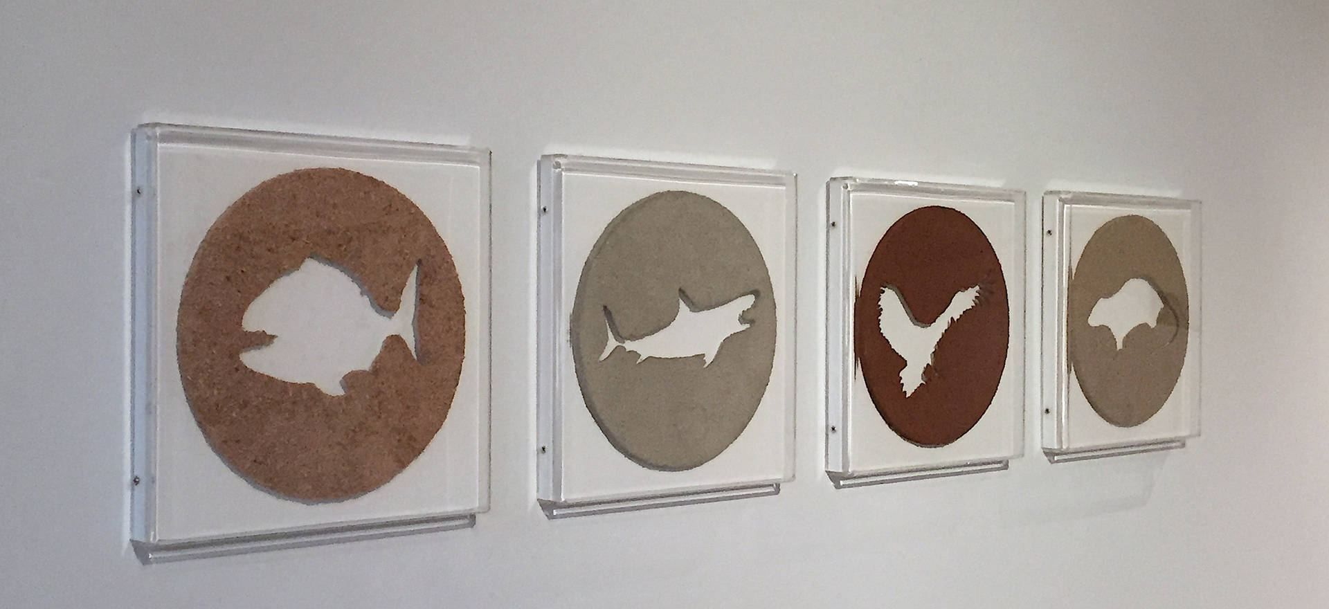 Economic fauna, 2016 Wood chips, sand, soil and cement. 12.12 x 12.12 x 1.45 inches each. 30.8 x 30.8 x 3.7 cm. each.