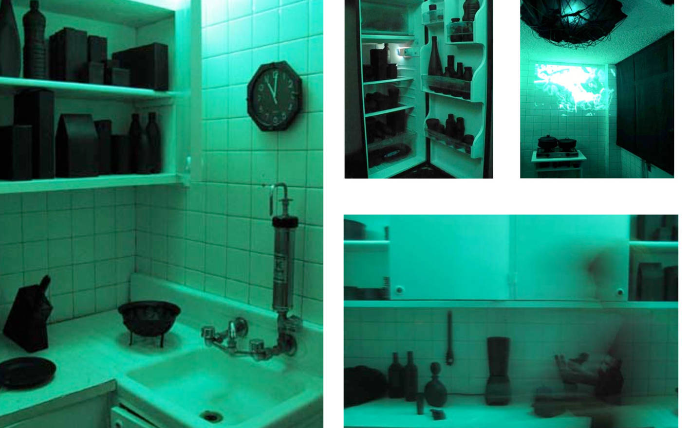The possibility of not being there, 2009 Multimedia kitchen intervention for Ovo Minispace for Creation, Mexico City. Kitchen utensils, lighting system, video and soundtrack.  Audio design: Federico Chávez.