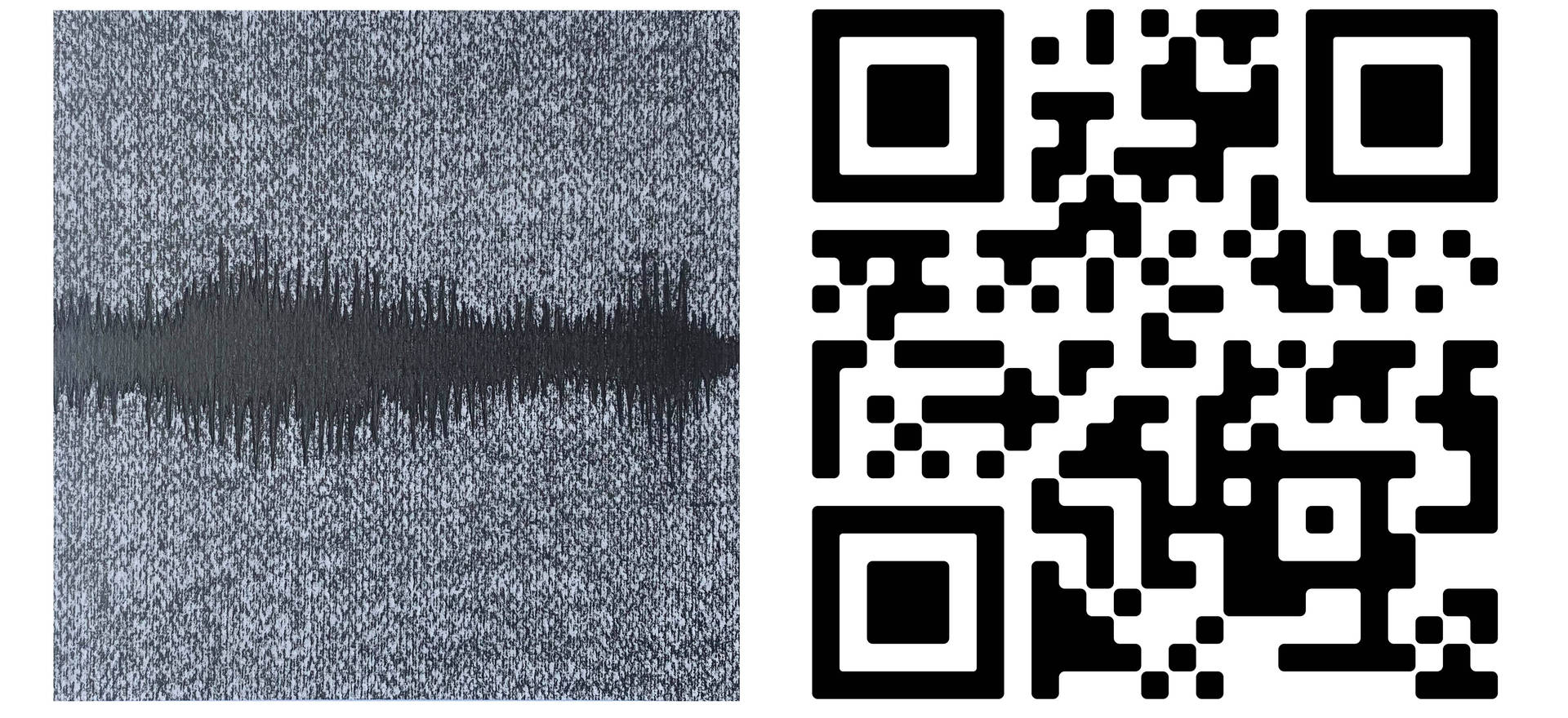 Spectography (temporal envelope) 2021. (detail) Relief. 7.87 x7.87 inches each 20 x 20 cm. each Graphite drawing of a spectrograph and QR of the sound of a whale.