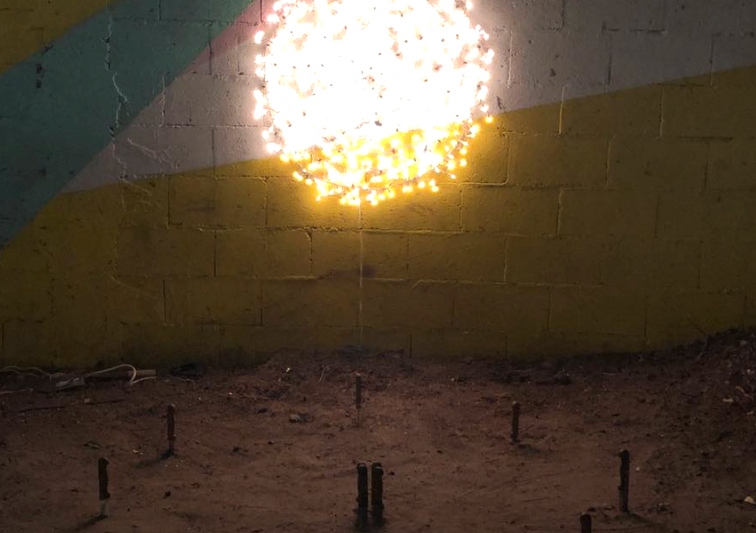 The moon shines over infamy, 2018 Site intervention with lighting system and knives. 70.86 x 62.99 x 62.99 inches. 180 x 160 x 160 cm.