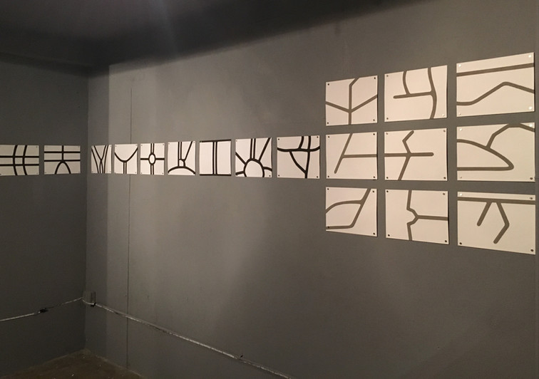 Innocuous © 2018 18 transfers of contaminants (9 with air pollutants from Mexico City, Mexico and 9 with toxic ashes from Peñuelas, Puerto Rico) on Fabriano paper 300 grs. 8.66 x 11.02 inches each. 22 x 28 cm. each. The patterns observed in both cases, are fragments of streets located at Condesa District in Mexico City and the housing estate at Tallaboa, Peñuelas in Puerto Rico, as they appear on    Google Maps.