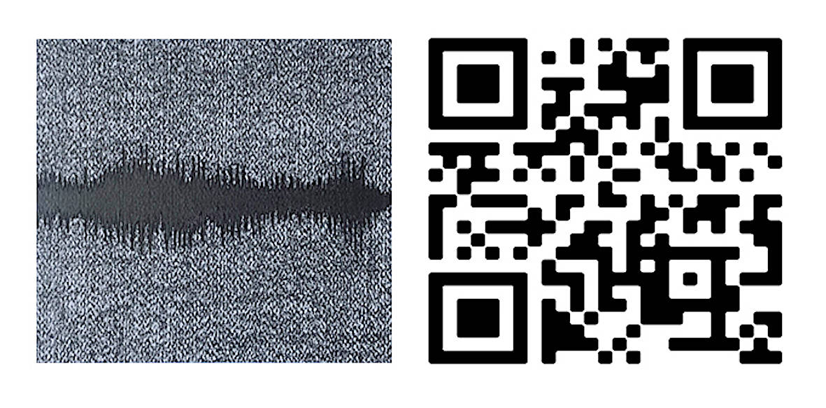 Spectography (temporal envelope) 2020. (detail) Relief. 7.87 x7.87 inches each 20 x 20 cm. each Graphite drawing of a spectrograph and QR of the sound of a whale.