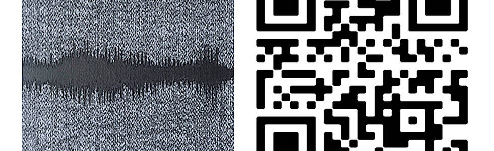 Spectography (temporal envelope) 2020. (detail) Relief. 19.7 x 17.8 cm. each Graphite drawing of a spectrograph and QR of the sound of a whale.