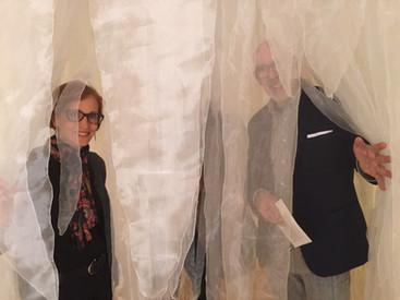 Curator, Santiago Espinosa de los Monteros and the author in Sudden Downpour.