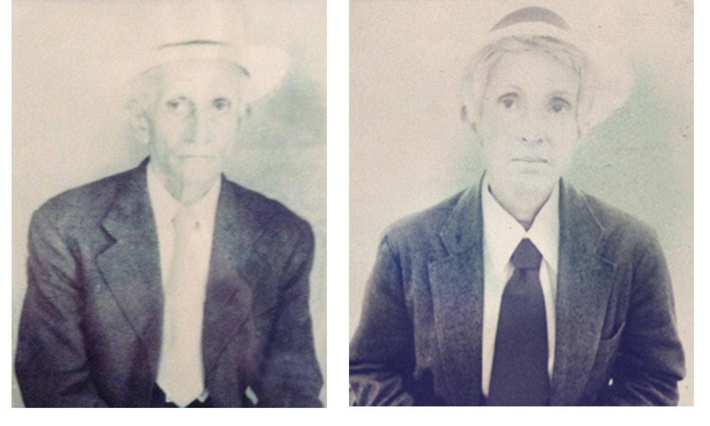 My great grandfather Thomas and I, 2016 Intervened photographs.  7.87 x 11.81 inches. 20 x 30 cm.