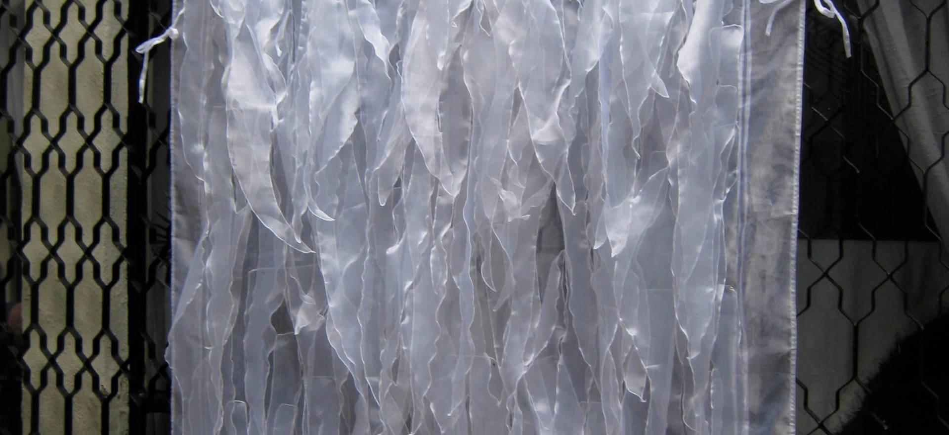 In the wind, 2011 Organza fabric. 94.48 x  64.17 inches. 240 x 163 cm.