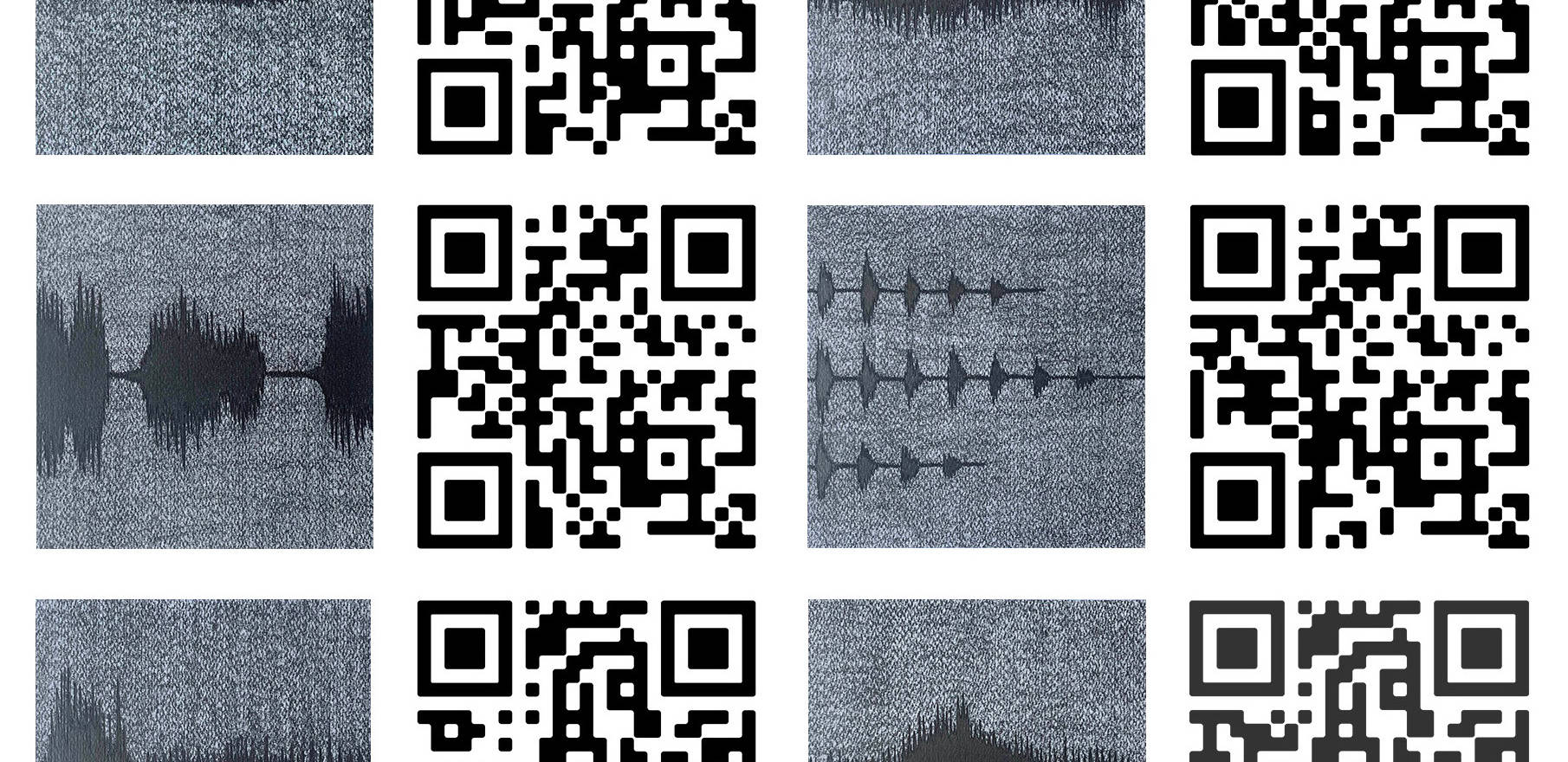 Spectography (temporal envelope) 2021. (detail) 20 Reliefs. 7.87 x 7.87 x 1.5 inches each 20 x 20 cm. each Graphite drawing of a spectrograph and QR of the sound of the following species: Whale, Horses, Crocodrile, Parrot, Elephant, Sea Lion, Leopard, Wolfs, Baboon and Bear.