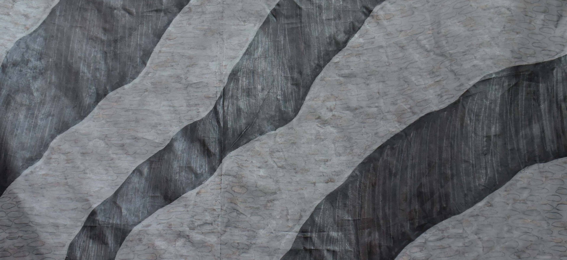 Inverse orography Textile painting, gesso, graphite and fixative. 102.36 x 64.17 inches. 260 x 163 cm.