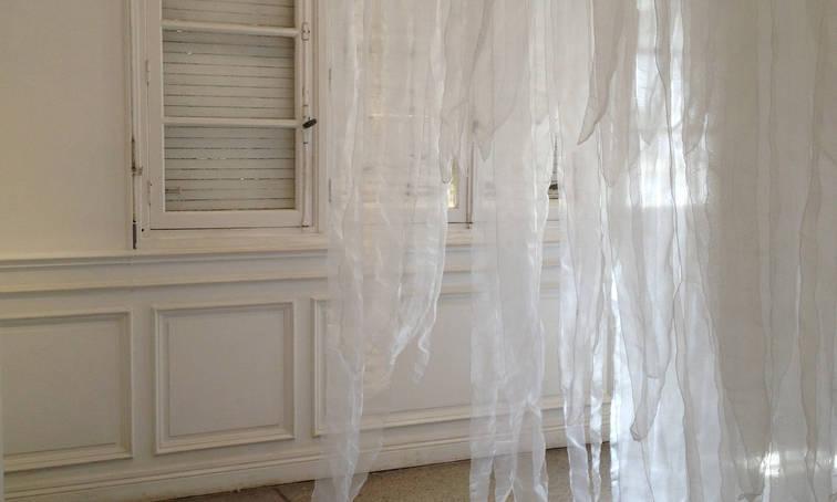 Sudden downpour, 2013 Penetrable installation. Organza fabric. 10.49 x 6.56 ft. 3.20 x 2 x 2 m,