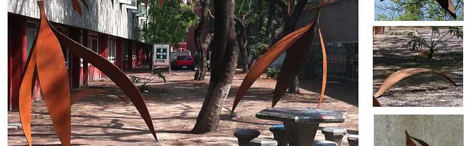 Autum, 2012 Corten steel.  1.77 x 5.11 x 3.34 ft. 4.5 13 x 8.5 m. Metropolitan Autonomous University (Atzcapotzalco) Mexico City, Mexico.