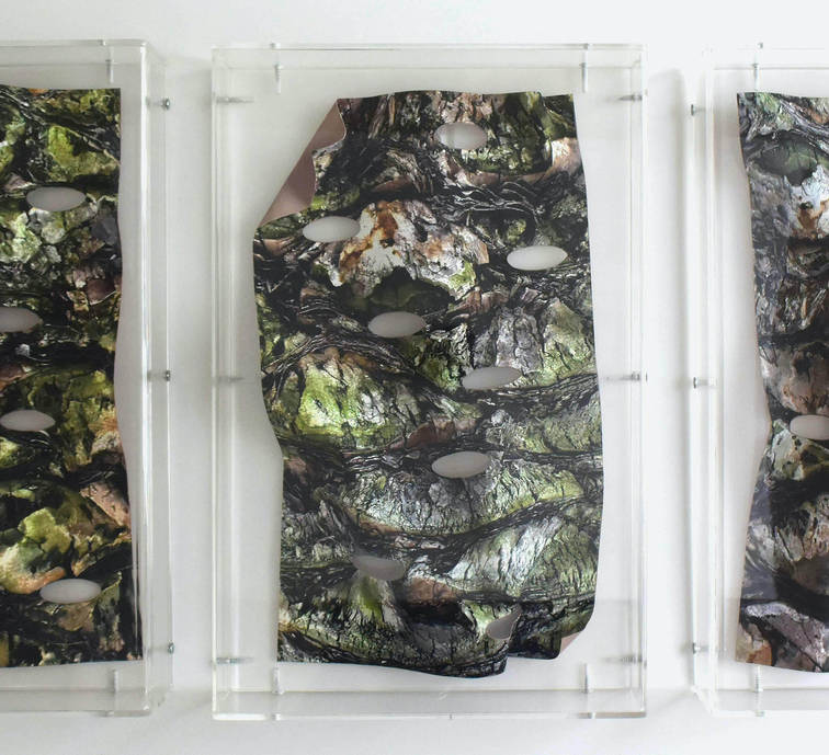 My eyes look at you. 2018 Photographic sculpture reliefs in acrylic cases. 14.17 x 9.44 x 2.36 inches each 36 x 24 x 6 cm. each