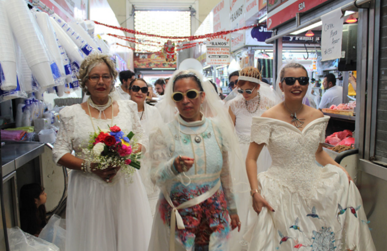 """Distressed nature, (legitimation), 2017 Performance at Culiacán, Sinaloa coordinated by artist María Romero based on the life of Guadalupe Leyva comonly known as """"the bride of Culiacán"""". December 22, 2017."""