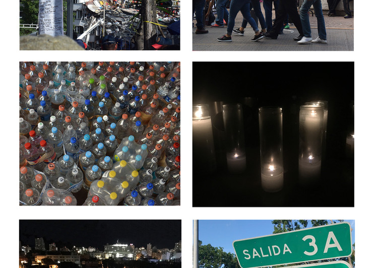 A day before, a day after. 2018 Photographs on canvas. 6.88 x 7.63 inche each. 17.5  x 19.4 cm. each. Photographic chronicle of the earthquake in Mexico on september 19, 2017 and  hurricane Maria in Puerto Rico on september 20, 2017.