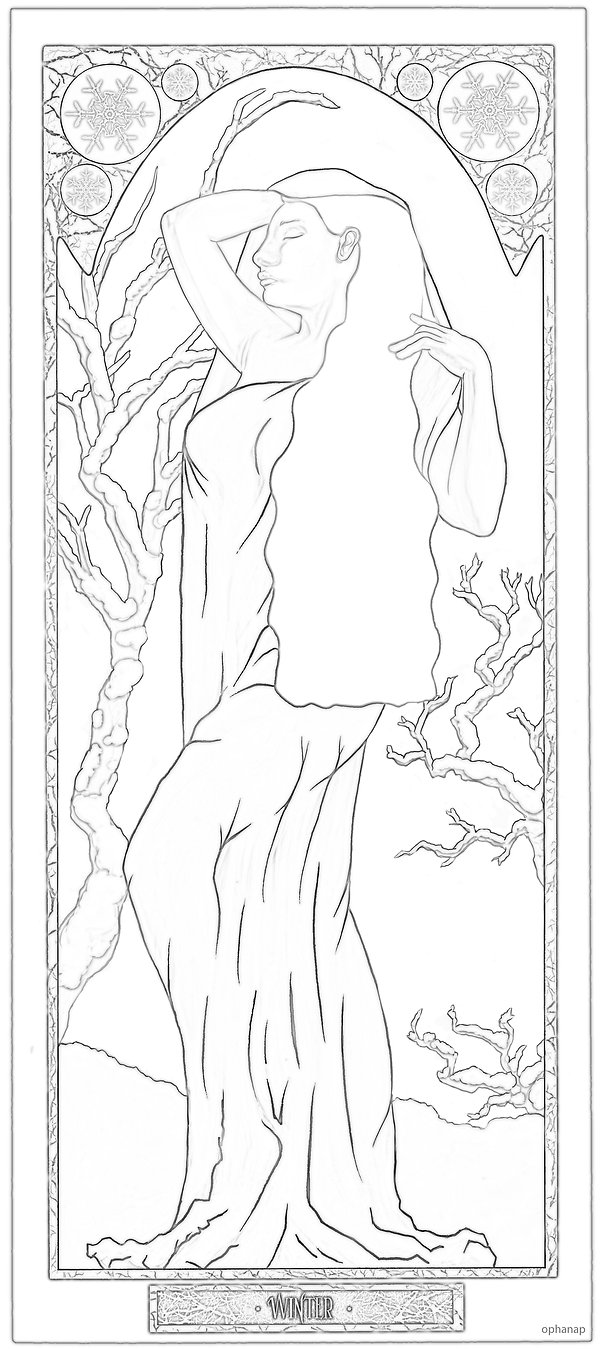 _Winter_ Art nouveau colouring page opha