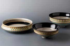 象嵌平鉢と象嵌碗