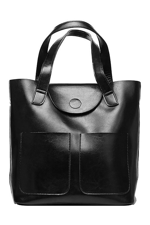 Large Leather Pocket Tote
